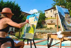 Painting by the pool at Podere Felceto